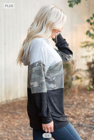 Gray + Camo Block Hoodie hoodies grateful hearts