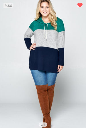 Teal, Gray + Navy Cozy Hoodie hoodies emerald