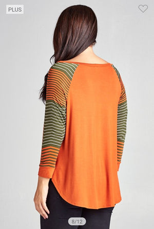 Striped Sleeve Raglan (more colors!) Tops emerald