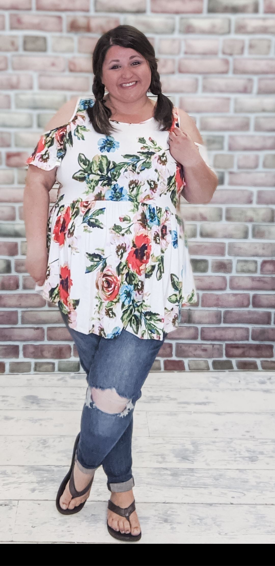 Floral Cold Shoulder Top (more colors!!!) Tops Stacked - Fashion for Curves