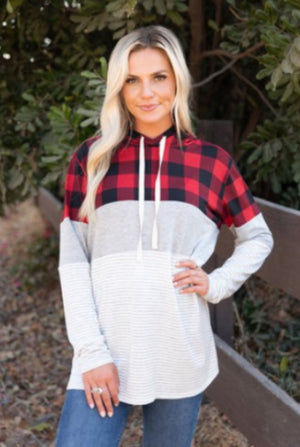 Buffalo Plaid Blocked T-shirt Hoodie hoodies grateful hearts