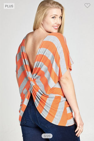 Striped Dolman Tee w/Twist Back Tops oddi