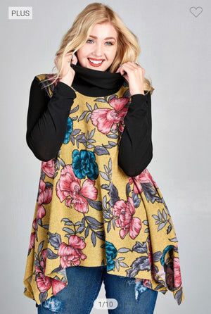 Floral Tunic w/Solid Sleeves + Cowlneck (more colors!) Tops oddi
