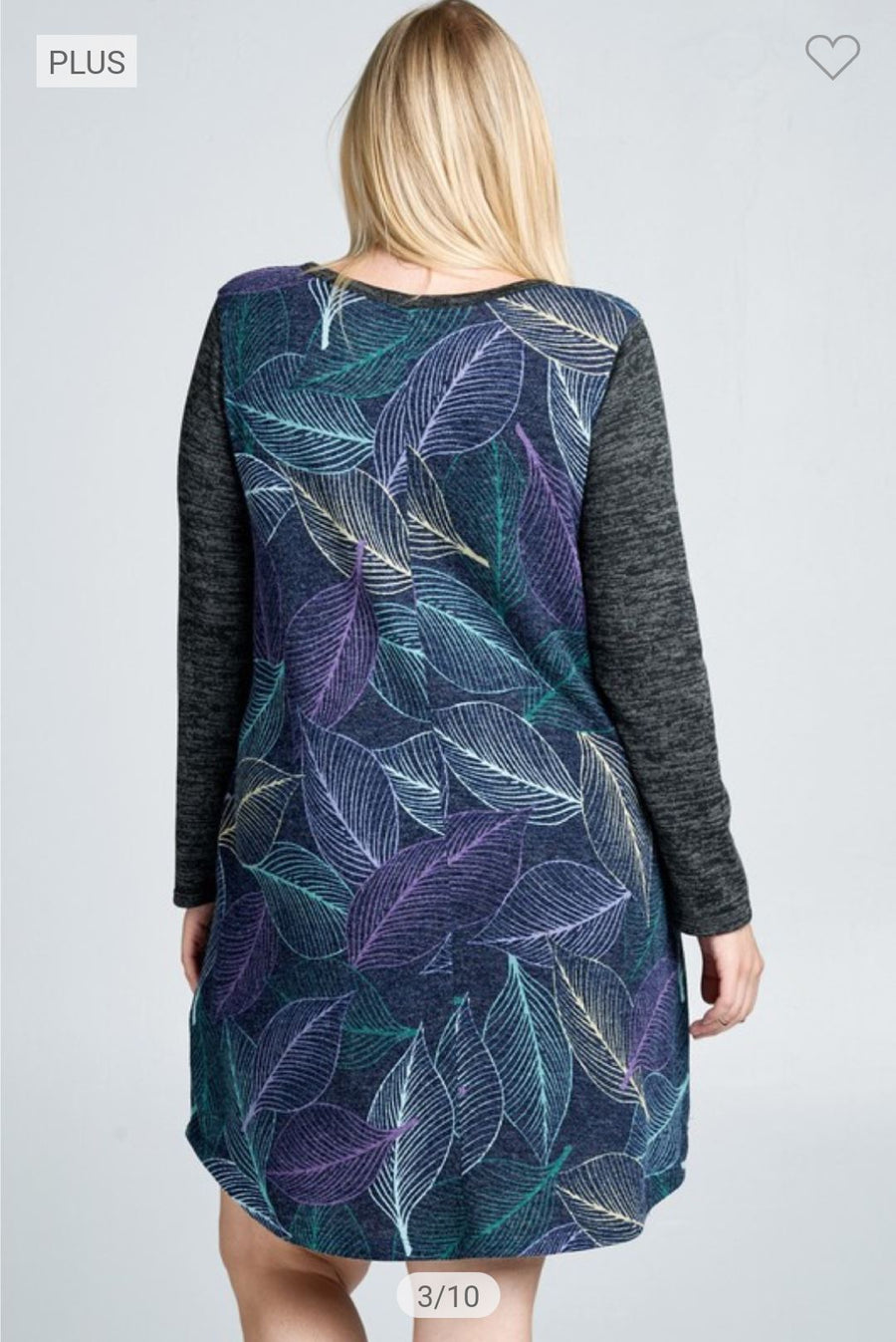 Charcoal + Blue Leaf Print Dress Dresses oddi