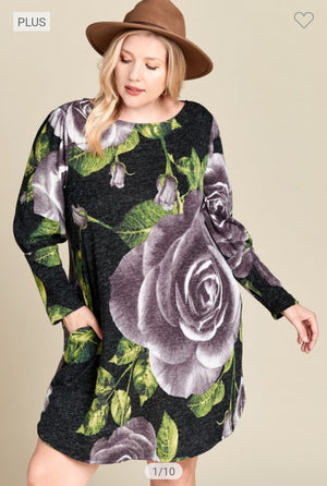 Black Hacci-knit Dress w/Oversized Floral Dresses oddi
