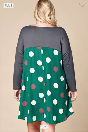 Polka Dot Dress w/Tshirt Sleeves dresses oddi