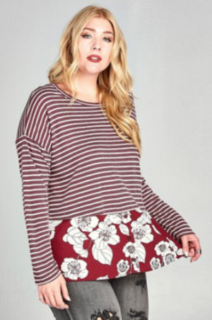 Striped Long Sleeve w/Floral Bottom Tops oddi