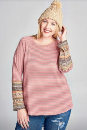 Apricot Striped Long Sleeve w/Sleeve Detail Tops oddi