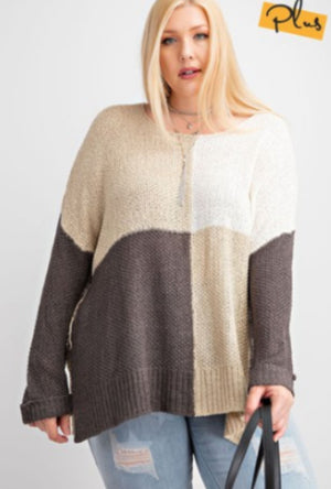 TAUPE + GRAY LIGHTWEIGHT SWEATER (OVERSIZED) Sweaters easel