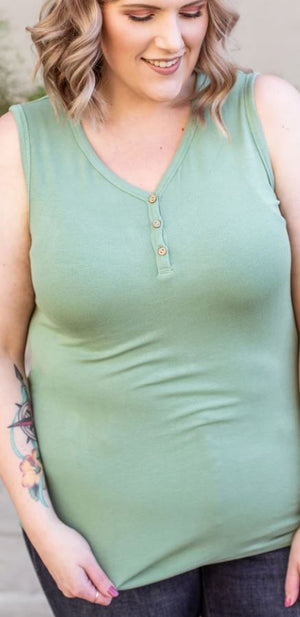 BUTTON FRONT HENLEY TANK (RIBBED) Tops Michelle Mae