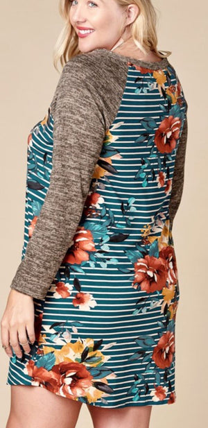 FLORAL + STRIPE RAGLAN DRESS (MORE COLORS!) Dresses oddi