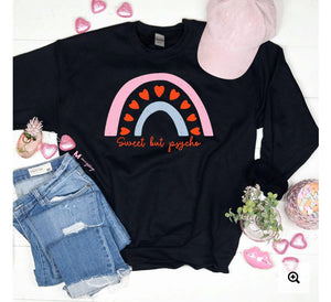 SWEET BUT PSYCHO BLACK SWEATSHIRT Tops mugsby