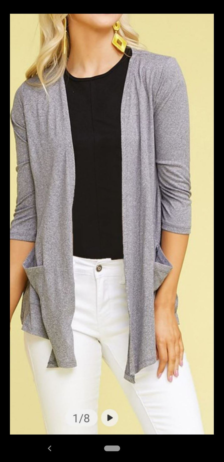 3/4 SLEEVE POCKET CARDIGAN Tops ninexis
