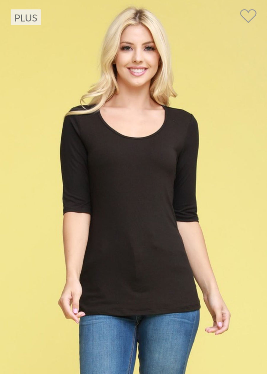 SOLID SCOOPNECK 3/4 SLEEVE TEE BASIC TOPS ninexis