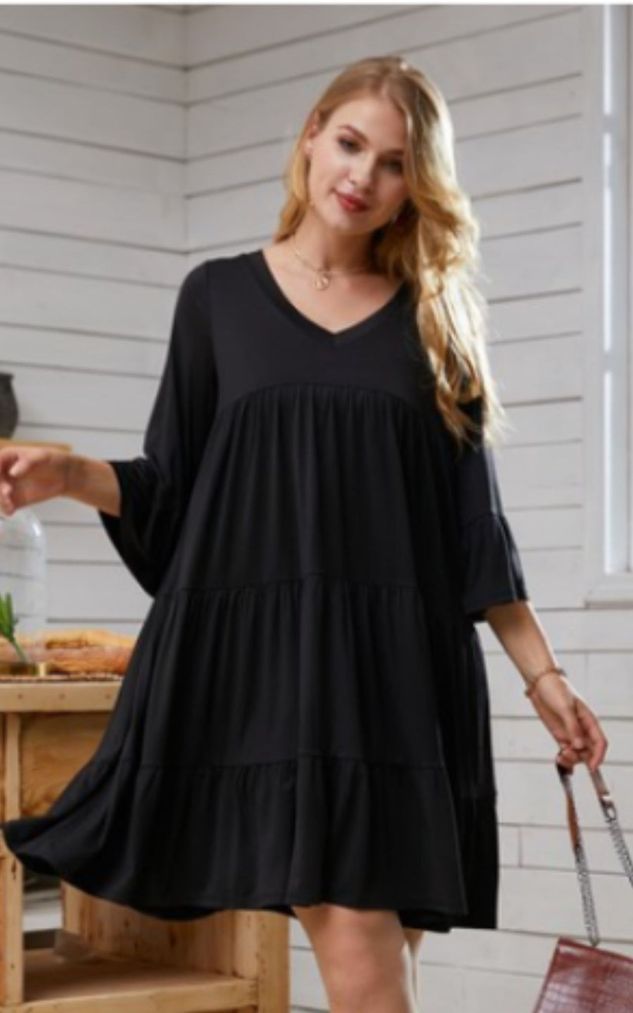BLACK TIERED DRESS Dresses ninexis