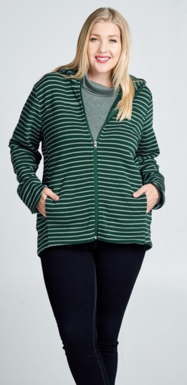 GREEN STRIPED ZIPUP HOODIE hoodies oddi