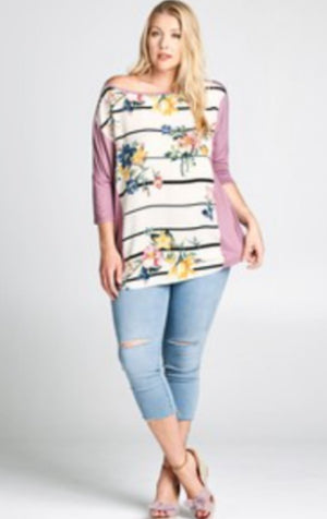 MAUVE + CREAM FLORAL FRONT TOP LONG SLEEVE TOPS oddi