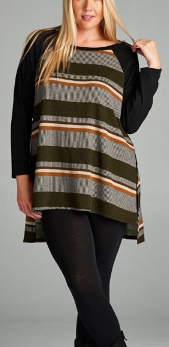 BLACK SLEEVE STRIPED RAGLAN Tops emerald
