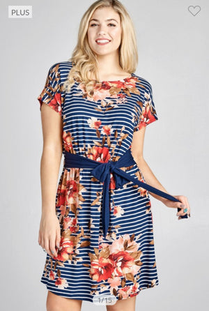 BELTED FLORAL TSHIRT DRESS (2 COLORS) Dresses ODDI