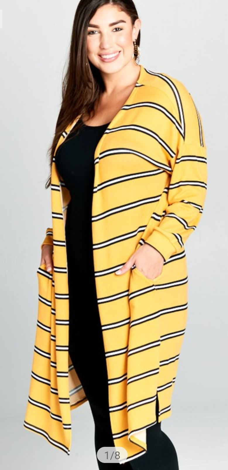 YELLOW STRIPED DUSTER LONG SLEEVE TOPS emerald