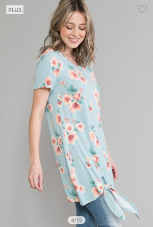 BLUE FLORAL TUNIC TEE SHORT SLEEVE TOPS voll