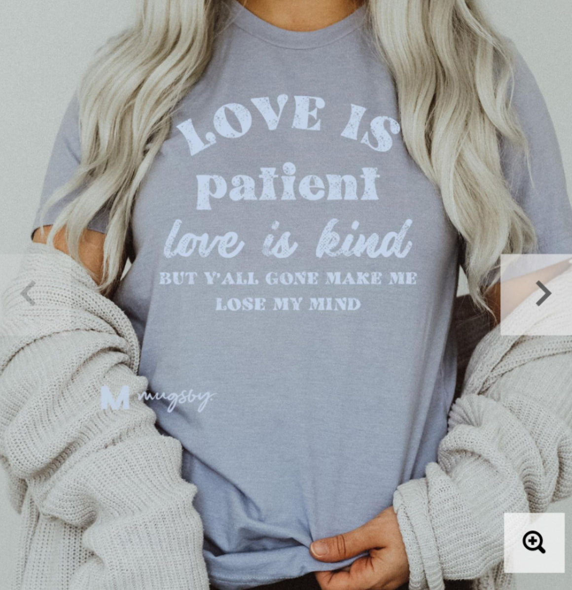 LOVE IS PATIENT SASSY TEE Graphic Tees mugsby