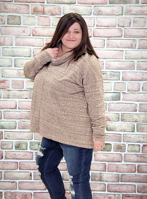 Lightweight Oatmeal Cowlneck Top