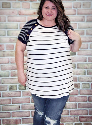 Navy Stripe Raglan Tee w/Button Details Tops Stacked Consignment