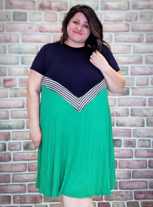Kelly Green + Navy T-shirt Dress