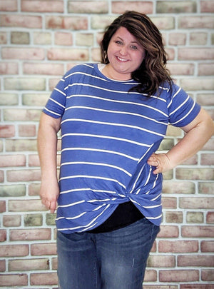 Striped Lightweight Tee w/Knot Detail (More Colors!)