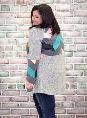 Gray Chevron Raglan Tunic Tops Stacked Consignment