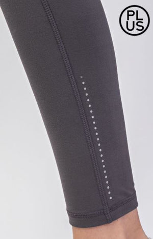 High Waist Plus Size Leggings w/ Side Pocket + Reflector Dots (more colors!) leggings Stacked - Fashion for Curves