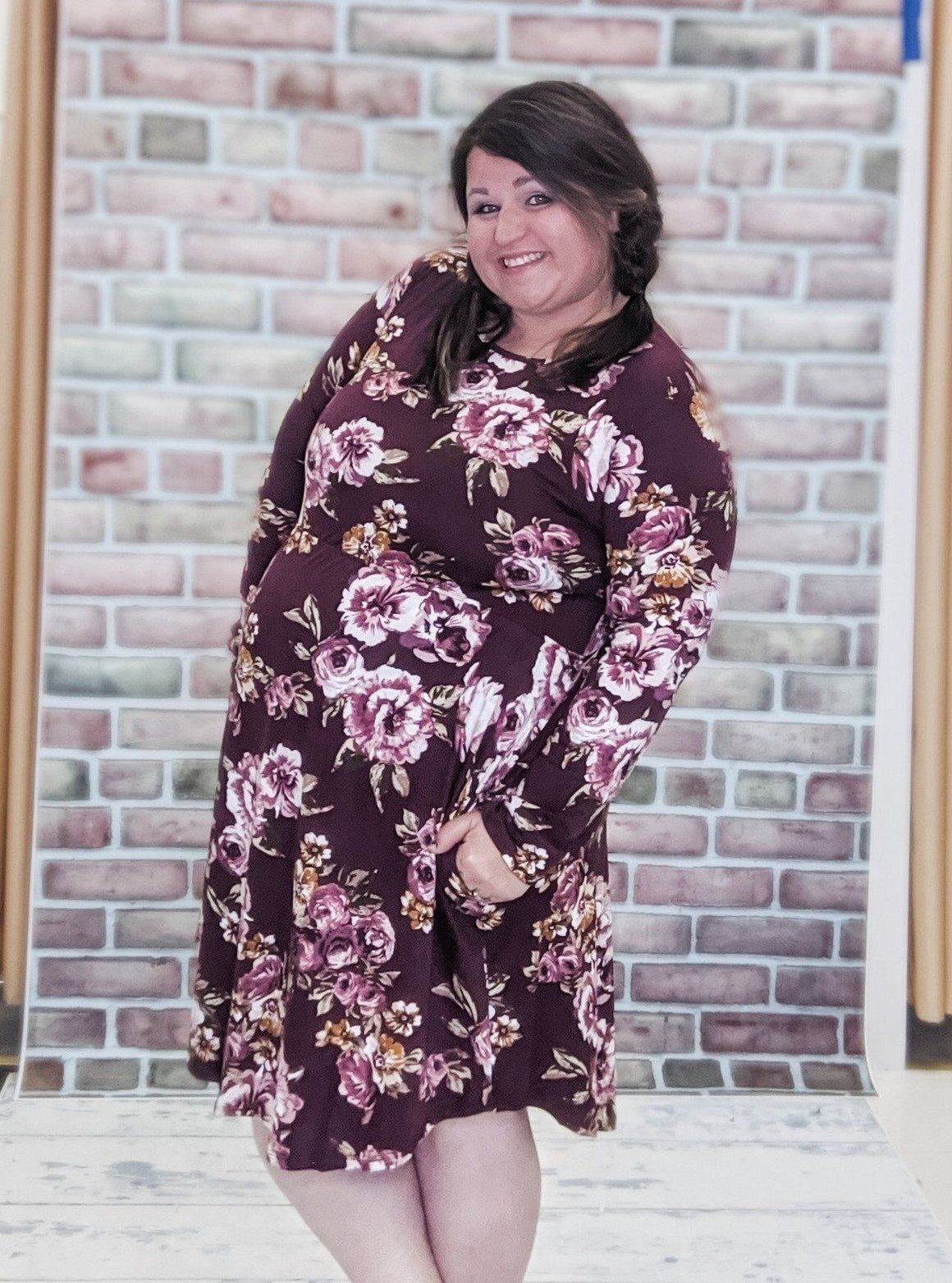 Burgundy Floral Long Sleeve Dress Dresses Stacked - Fashion for Curves