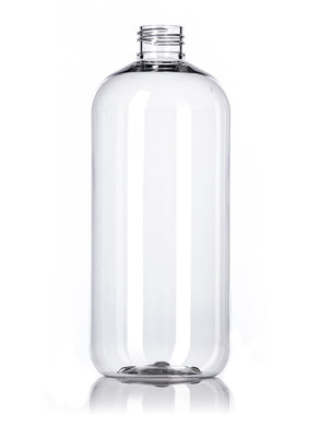 16 oz clear PET plastic boston round bottle with lid