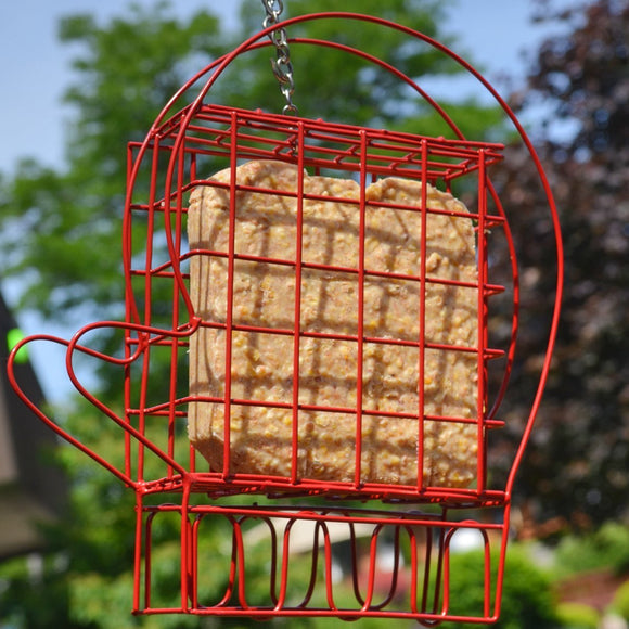 Red Mitten suet feeder from Heath