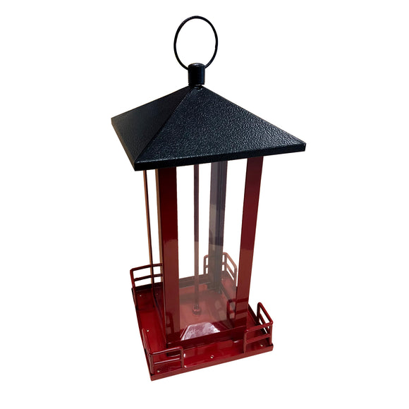 Red Metal Black Roof Bird Feeder