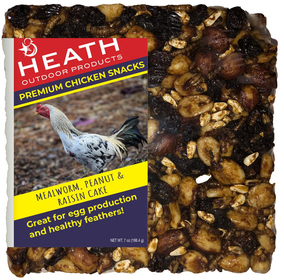 Chicken Snack Premium Mealworm Seed Cake with Peanut & Raisin - 7 oz - Pack of 12 - Heathoutdoors