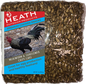 Chicken Snack Premium Mealworm Seed Cake with Sunflower - 7 oz - Pack of 12 - Heathoutdoors