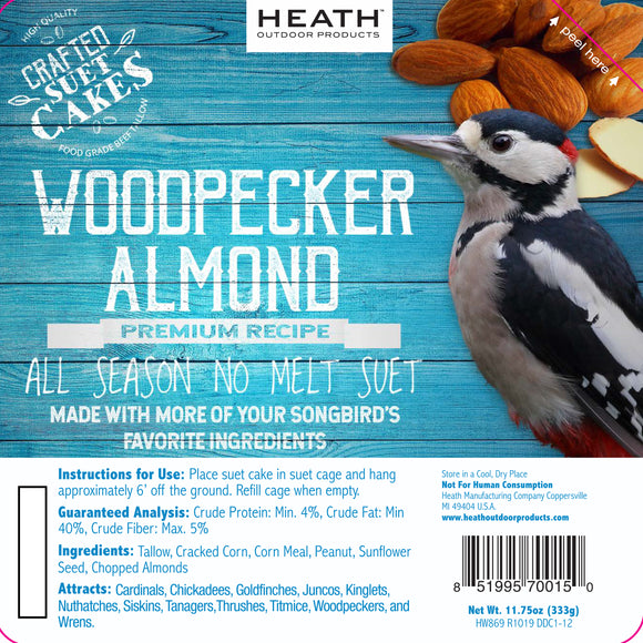 Woodpecker Almond Premium Crafted Suet Cake - 11.75 oz. 12 pack