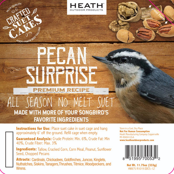 Pecan Surprise Premium Crafted Suet Cake - 11.75 oz. 12 pack