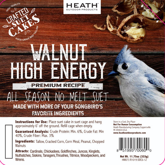 Walnut High Energy Premium Crafted Suet Cake - 11.75 oz. 12 pack