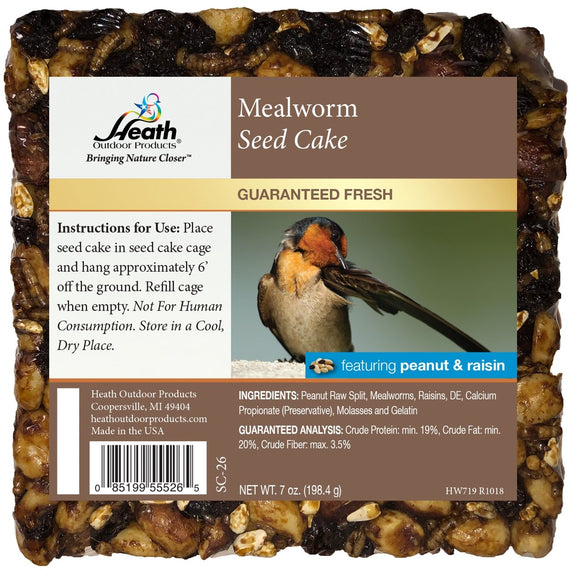 Mealworm Seed Cake with Peanut & Raisin - 7 oz - Pack of 12 - Heathoutdoors