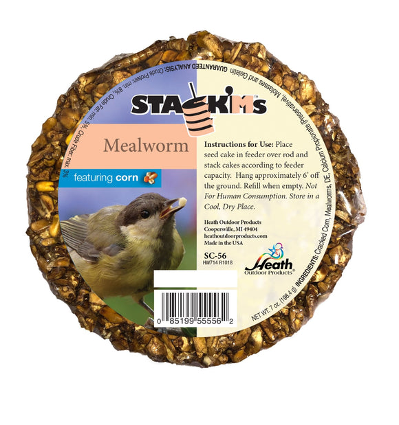 Stack'Ms - Mealworm with Corn Seed Cake - 6.5 oz - Pack of 6 - Heathoutdoors
