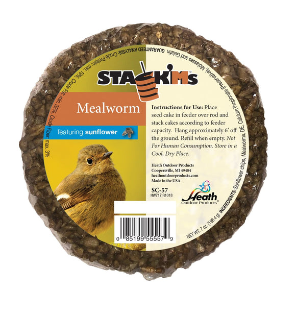 Stack'Ms - Mealworm with Sunflower Chips Seed Cake - 6.5 oz - Pack of 6 - Heathoutdoors