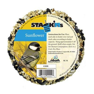 Sunflower Stack'Ms Seed Cake - 7 oz - Pack of 6 - Heathoutdoors