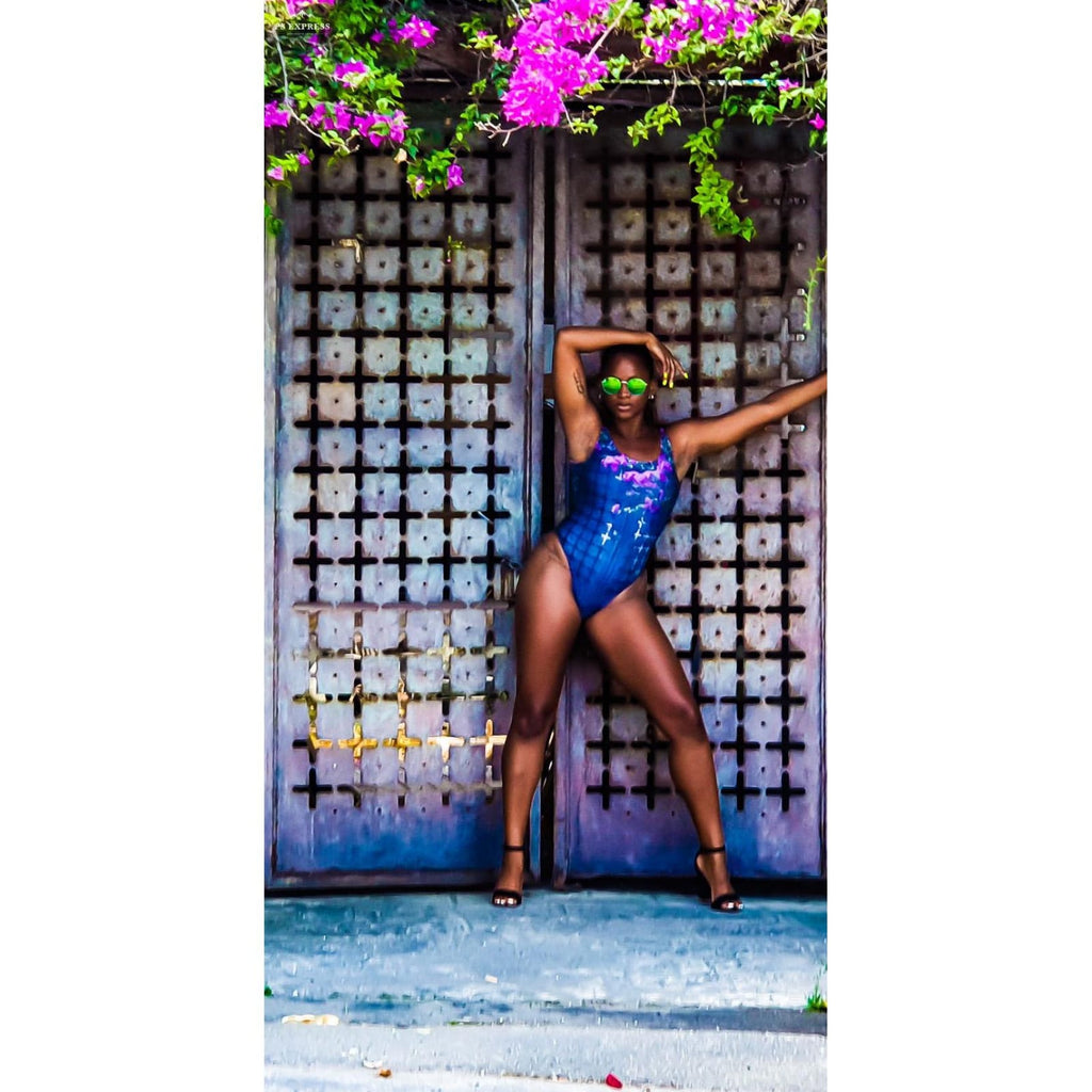 The Mysterious Bougainvillea-Covered Door One-Piece Swimsuit