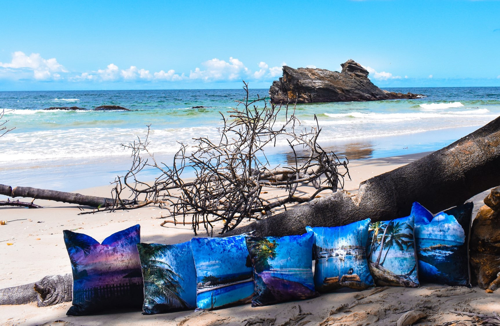 Beached Boats at Maracas Fishing Village Throw Pillow Cover