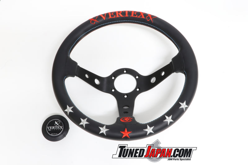 CAR MAKE T&E VERTEX -7 STAR- STEERING WHEEL - LEATHER - RED