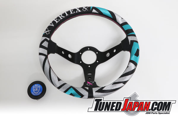 CAR MAKE T&E VERTEX - LABYRINTH - STEERING WHEEL - LEATHER - TEAL GREEN/SILVER