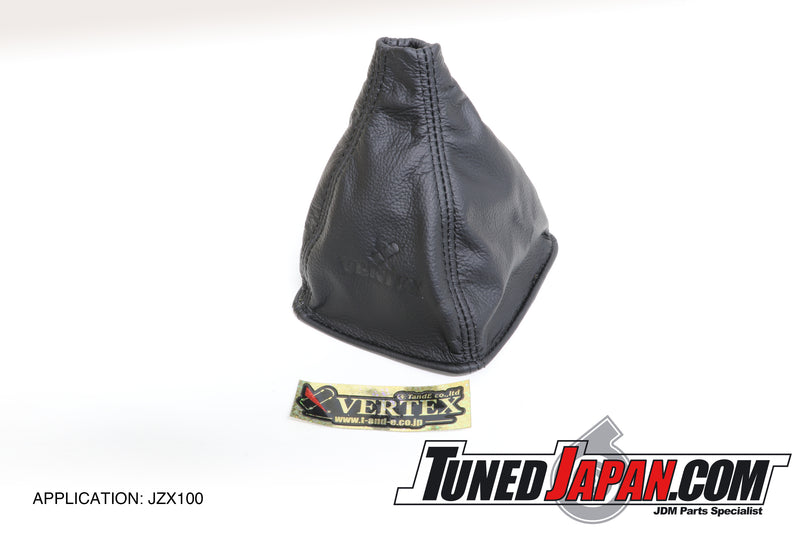 CAR MAKE T&E VERTEX LEATHER SHIFT BOOT BLACK/BLACK - JZX100 MARKII
